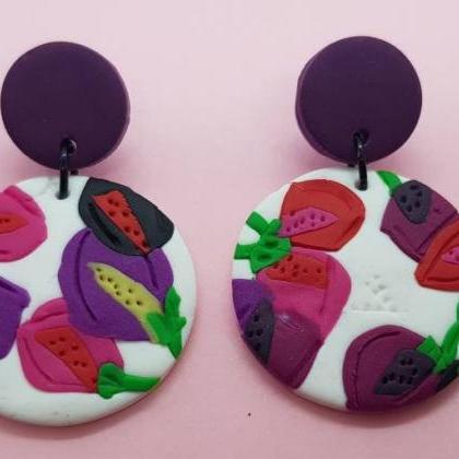 Flowers polymerclay statement earri..