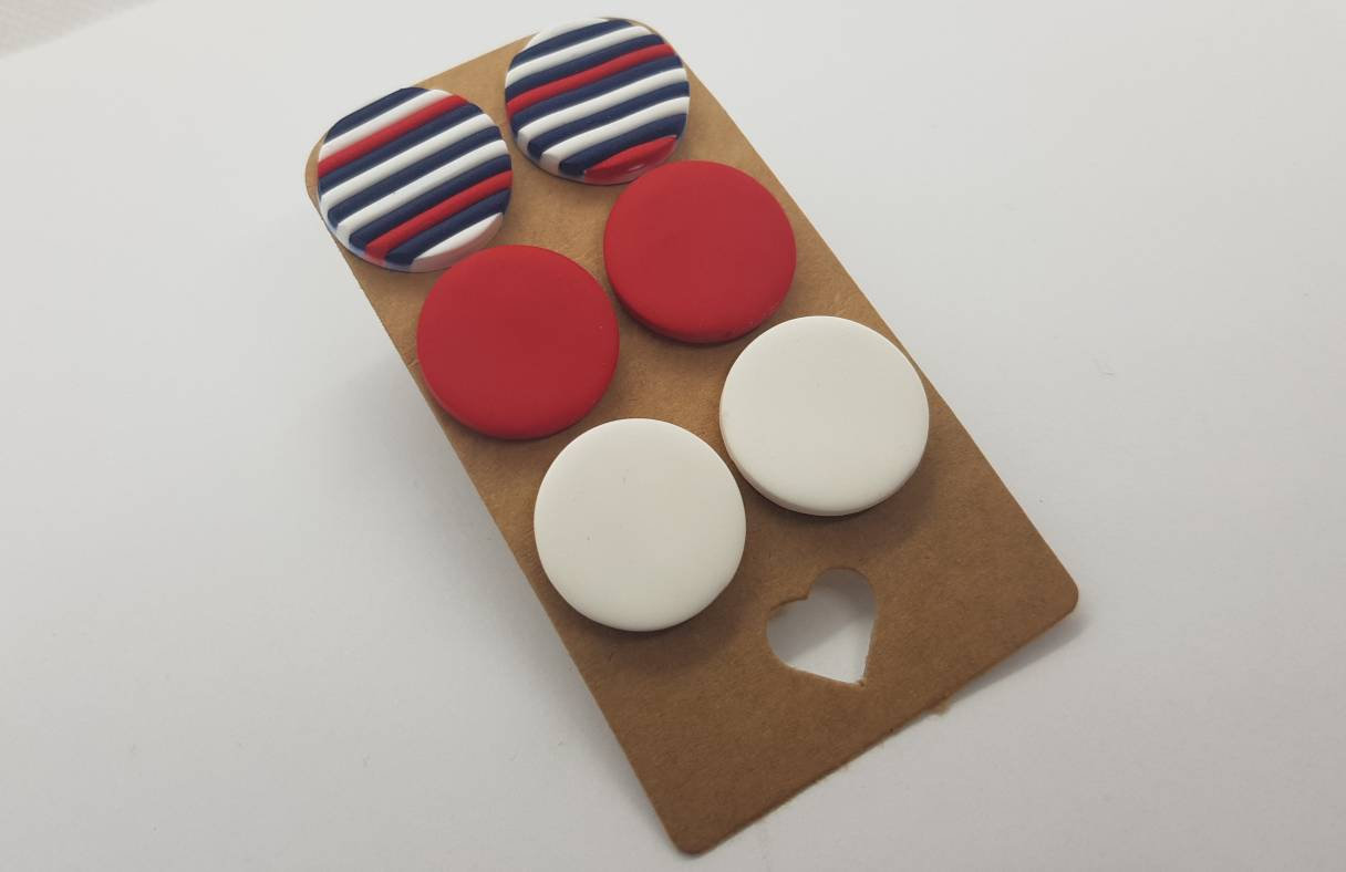 3 pack round studs polymerclay earrings stripes navy red colorful polymer clay orecchini bottone fasce rotondi borchie