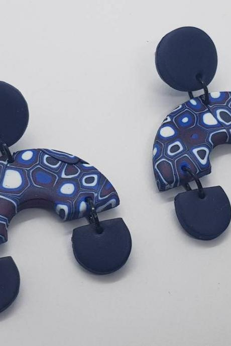 Dangle arch polymer clay murrina style earrings polymerclay orecchini