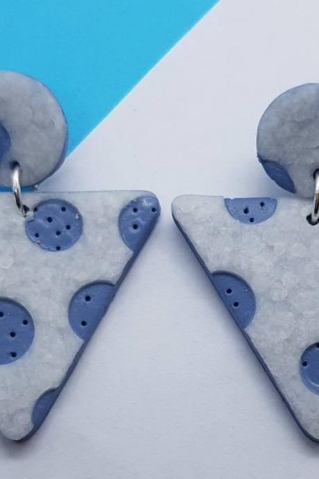 Bluestone polymerclay statement earrings polymer clay triangle triangolo orecchini Made in italy