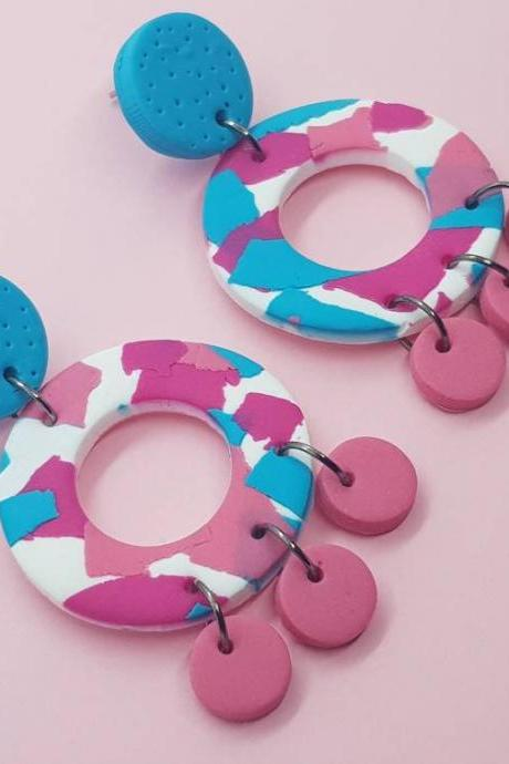 Turquoise pink retro colorful summer polymerclay statement earrings polymer clay orecchini