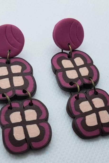 Dangle brown pink fucsia retro polymer clay statement earrings polymerclay marrone Italy geometric florals