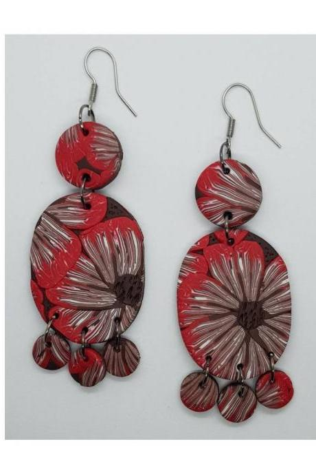 Cane flower retro polymerclay statement earrings polymer clay brown red orecchini