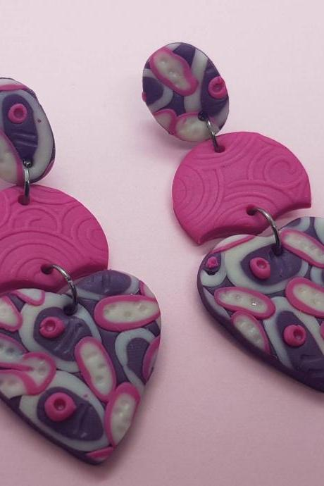 Purple fuchsia style heart dangle polymerclay statement earrings polymer clay