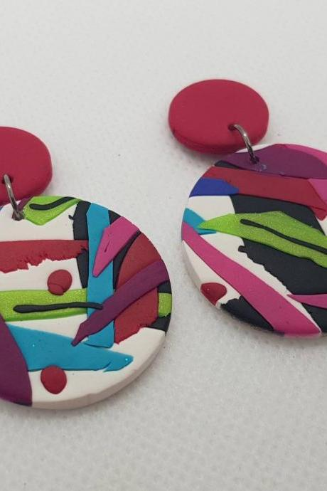 Dangle retro polymer clay 80s statement colorful stripes earrings polymerclay Italy geometric abstract anni 80 italia orecchini