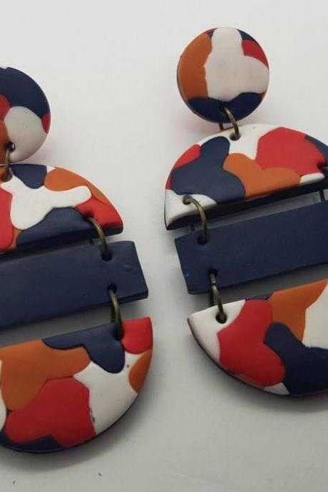 Dangle oval blu red orange retro polymer clay statement earrings polymerclay
