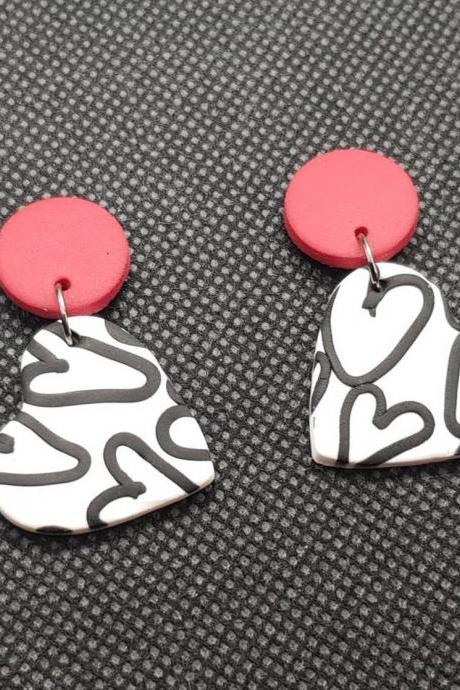 Heart cuori statement earrings polymer clay orecchini cuore 80s black white