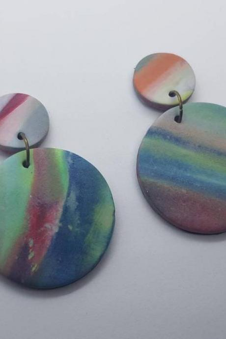 Marble effect waves pattern statement polymerclay earrings colorful green polymer clay orecchini anni vintage rotondo marmo effetto onda