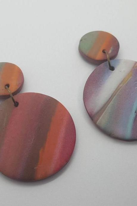 Marble effect waves pattern statement polymerclay earrings colorful polymer clay orecchini anni vintage rotondo marmo effetto onda