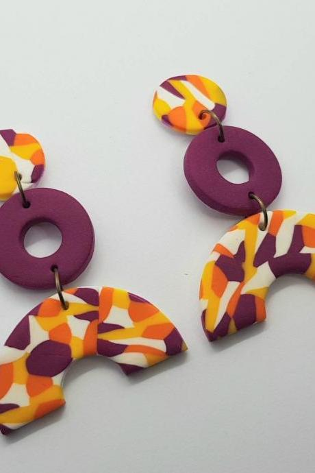 Funky pattern 80s statement polymerclay earrings orange yellow fuchsia polymer clay orecchini anni 80 vintage colorato rotondi