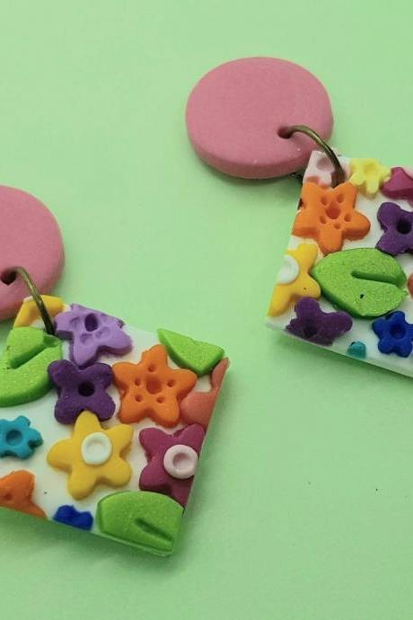 Colorful florals flowers handmade polymerclay square statement earrings orecchini floreali colorati fiori quadrato tondo