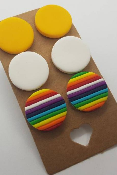 3 pack round studs polymerclay earrings rainbow colorful polymer clay orecchini bottone fasce arcobaleno colorato rotondi borchie