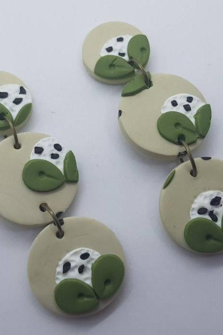 Green handmade polymerclay flower round statement earrings orecchini verde cerchio tondo fiori