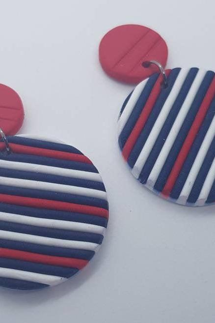 Stripes round statement polymerclay earrings red blu nautical polymer clay orecchini fasce rosso blu nautica rotondi
