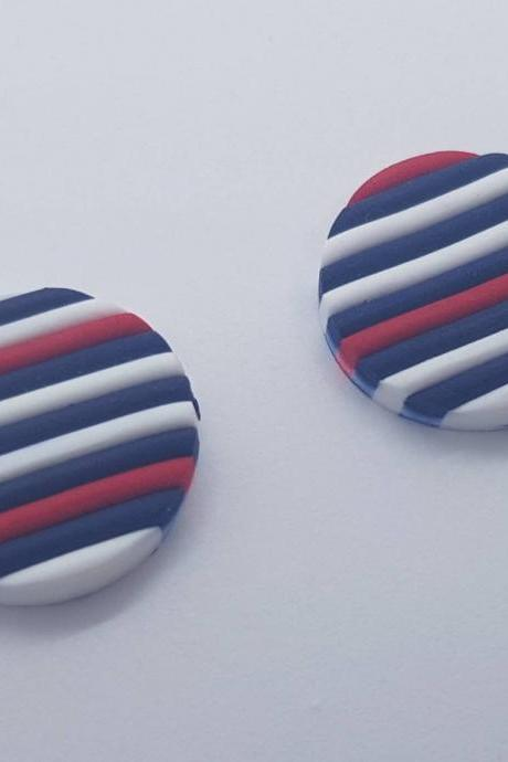 Little stripes studs polymerclay earrings red blu nautical polymer clay orecchini fasce rosso blu nautica