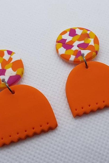 Orange yellow white oval statement earrings polymer clay orecchini summer 80s arancio giallo foglia confetti