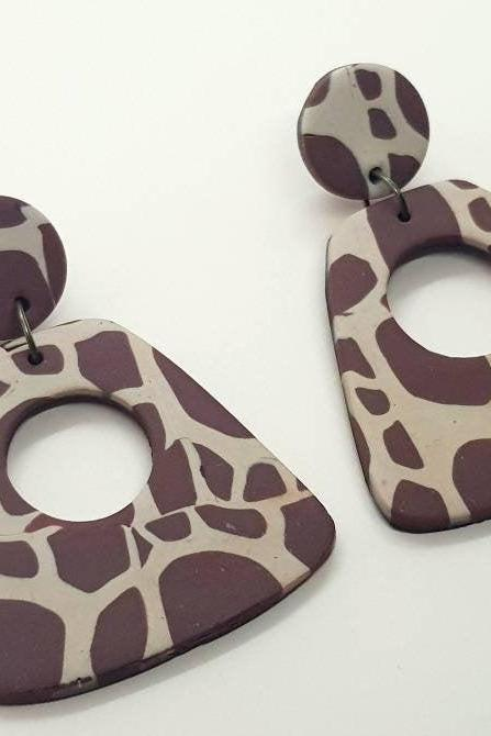 Big brown polymerclay statement earrings polymer clay orecchini giraffe animal print