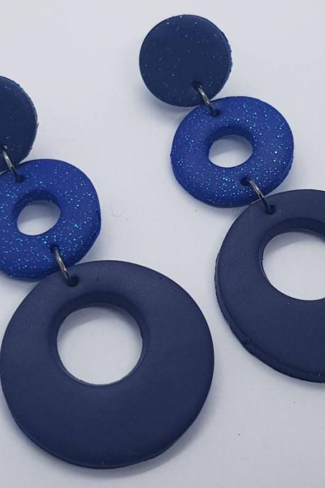 Dangle polymer clay style earrings orecchini blu sparkling