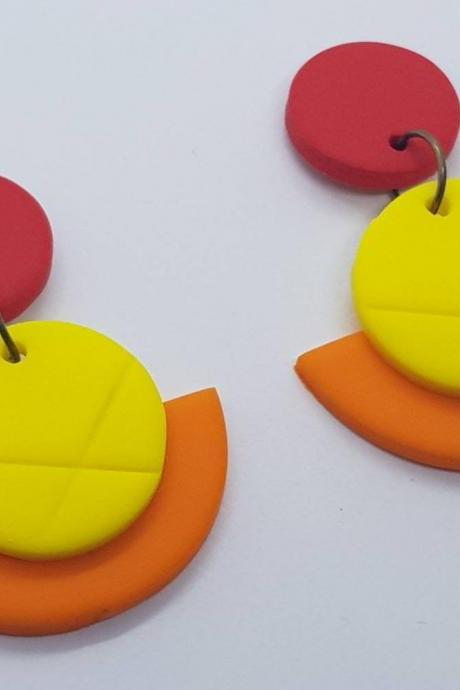 Yellow red orange polymerclay statement earrings polymer clay orecchini round dangle