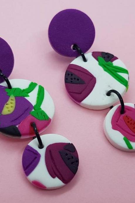 Flowers polymerclay statement earrings polymer clay orecchini round dangle colorful fiori