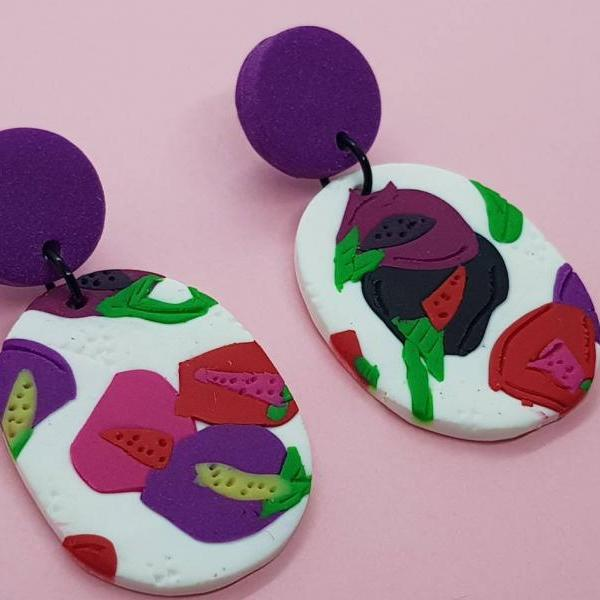 Flowers polymerclay statement earrings polymer clay orecchini oval dangle colorful fiori